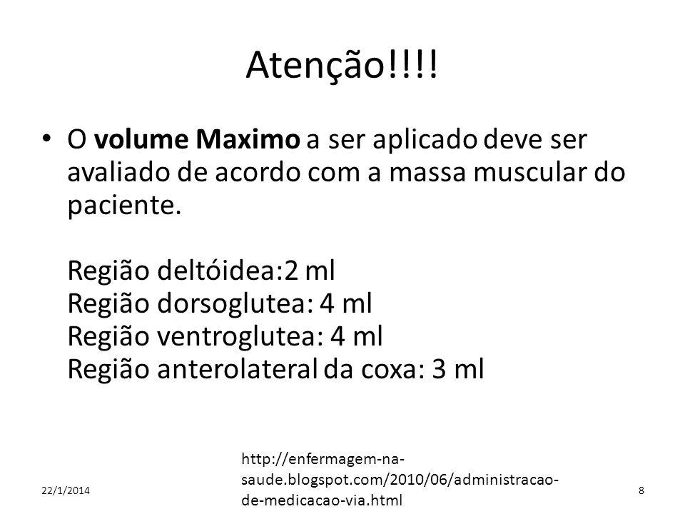 Atenção!!!! O volume Maximo a ser aplicado deve ser avaliado de acordo com a massa muscular do paciente. Região deltóidea:2 ml Região dorsoglutea: 4 m
