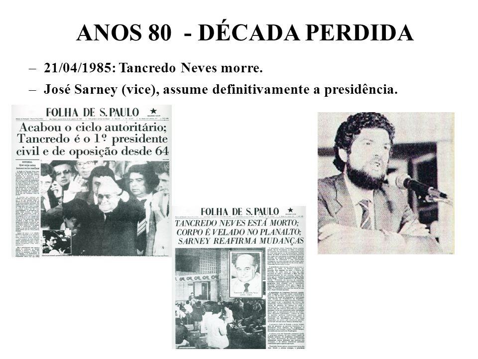 BRASIL REPÚBLICA (1889 – ) JAN/85: Eleições indiretas para presidente: PDS Paulo Maluf – presidente Mário Andreazza - vice X ALIANÇA DEMOCRÁTICA* (PMD