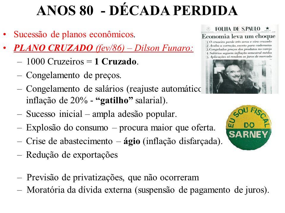 BRASIL REPÚBLICA (1889 – ) 1 – GOVERNO JOSÉ SARNEY (1985 – 1990): PMDB – Transição Democrática Desconfiança inicial - ex-PDS (Arena) –passado ligado a