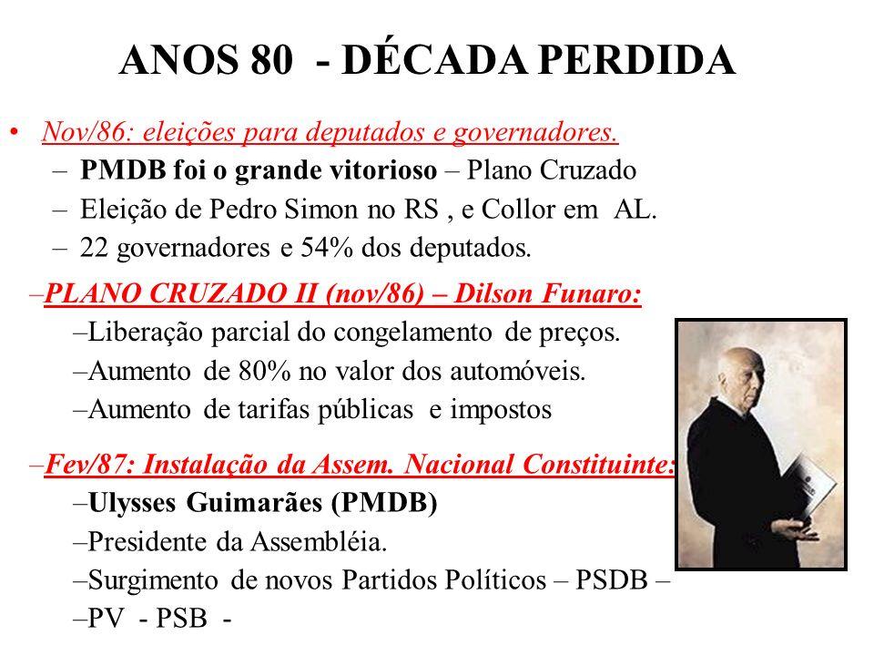 BRASIL REPÚBLICA (1889 – ) Sucessão de planos econômicos. PLANO CRUZADO (fev/86) – Dilson Funaro: –1000 Cruzeiros = 1 Cruzado. –Congelamento de preços