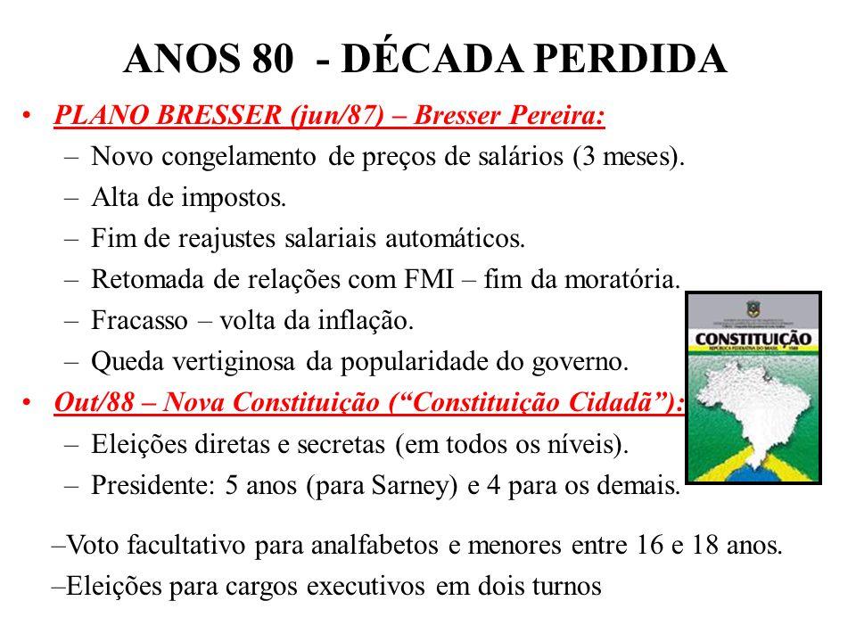 BRASIL REPÚBLICA (1889 – ) Nov/86: eleições para deputados e governadores. –PMDB foi o grande vitorioso – Plano Cruzado –Eleição de Pedro Simon no RS,