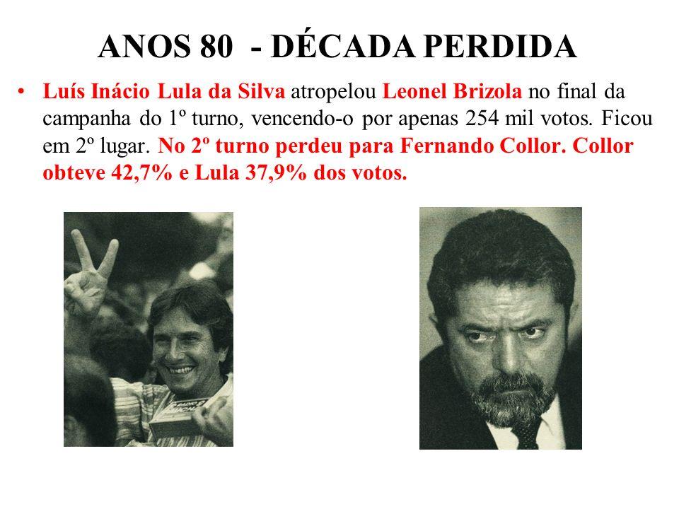 BRASIL REPÚBLICA (1889 – ) –Enéas -PRONA –Silvio Santos –Ulysses e Aureliano não perceberam que o país era outro – e naufragaram! ANOS 80 - DÉCADA PER