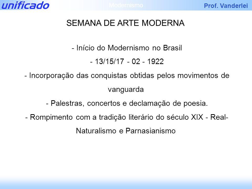 Prof. Vanderlei - Início do Modernismo no Brasil - 13/15/17 - 02 - 1922 - Incorporação das conquistas obtidas pelos movimentos de vanguarda - Palestra
