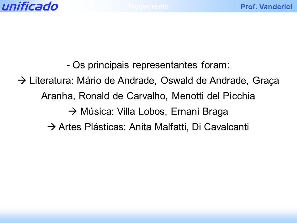 Prof. Vanderlei - Os principais representantes foram: Literatura: Mário de Andrade, Oswald de Andrade, Graça Aranha, Ronald de Carvalho, Menotti del P