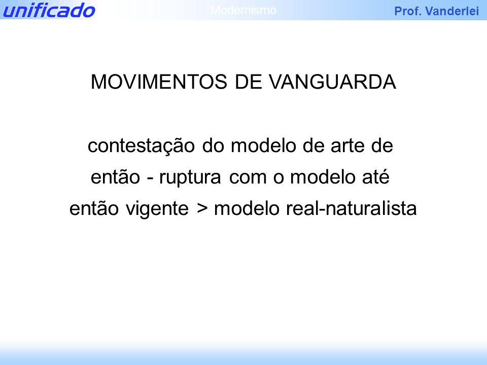 Prof. Vanderlei MOVIMENTOS DE VANGUARDA contestação do modelo de arte de então - ruptura com o modelo até então vigente > modelo real-naturalista Mode