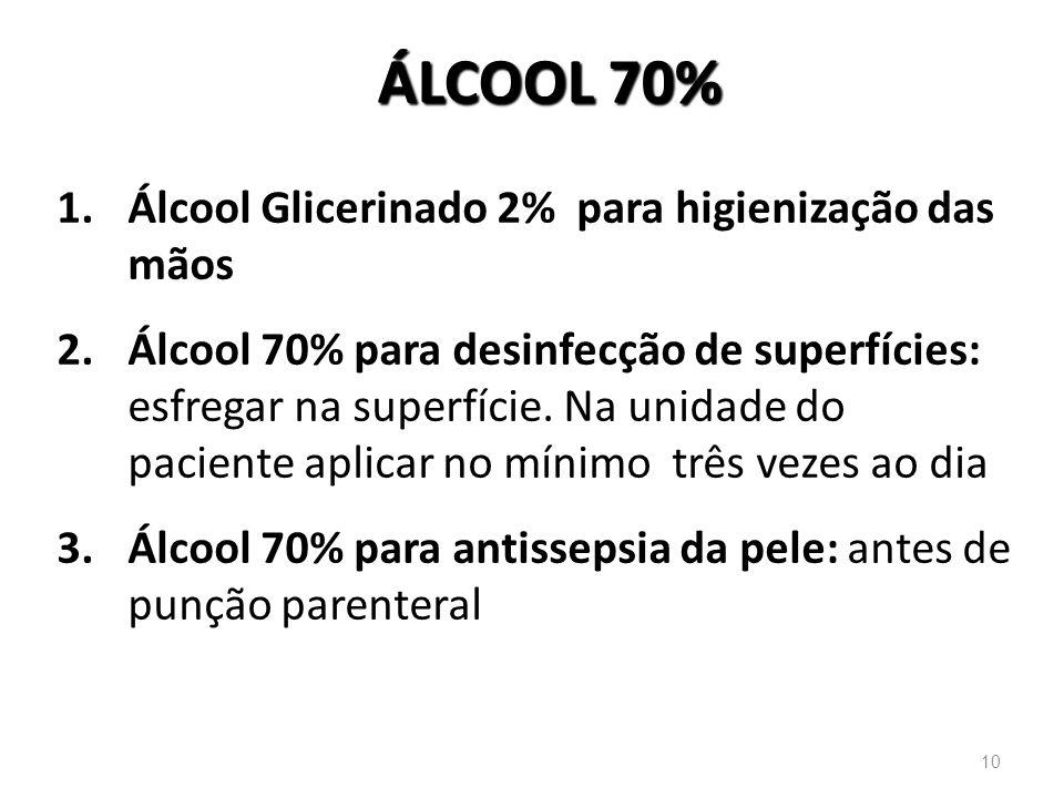 ÁLCOOL 70% 1.Álcool Glicerinado 2% para higienização das mãos 2.Álcool 70% para desinfecção de superfícies: esfregar na superfície. Na unidade do paci