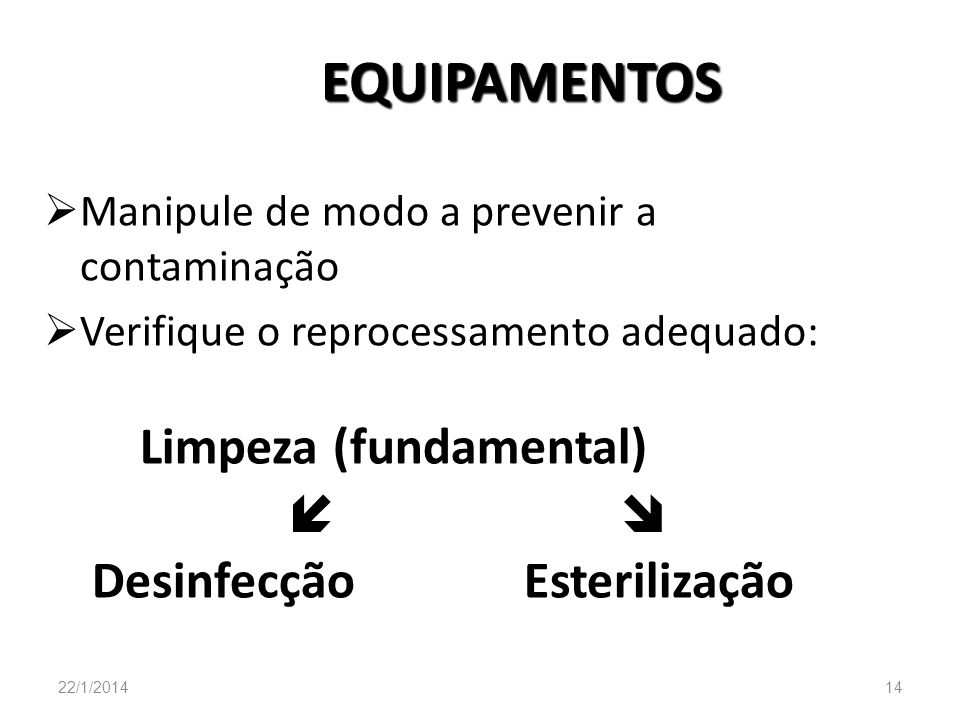 EQUIPAMENTOS Manipule de modo a prevenir a contaminação Verifique o reprocessamento adequado: Limpeza (fundamental) Desinfecção Esterilização 22/1/201