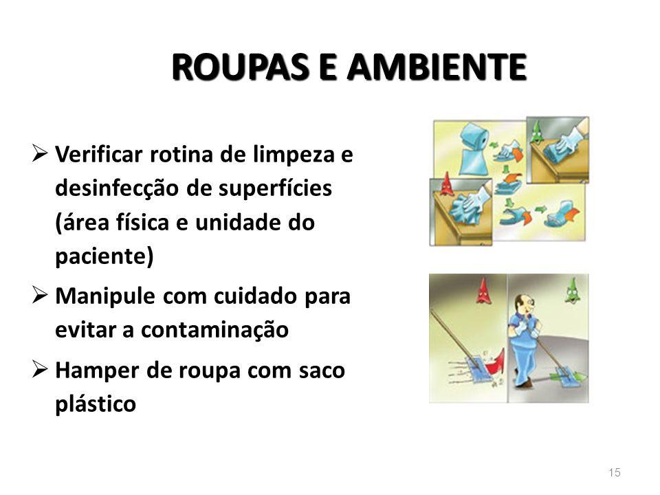 ROUPAS E AMBIENTE Verificar rotina de limpeza e desinfecção de superfícies (área física e unidade do paciente) Manipule com cuidado para evitar a cont