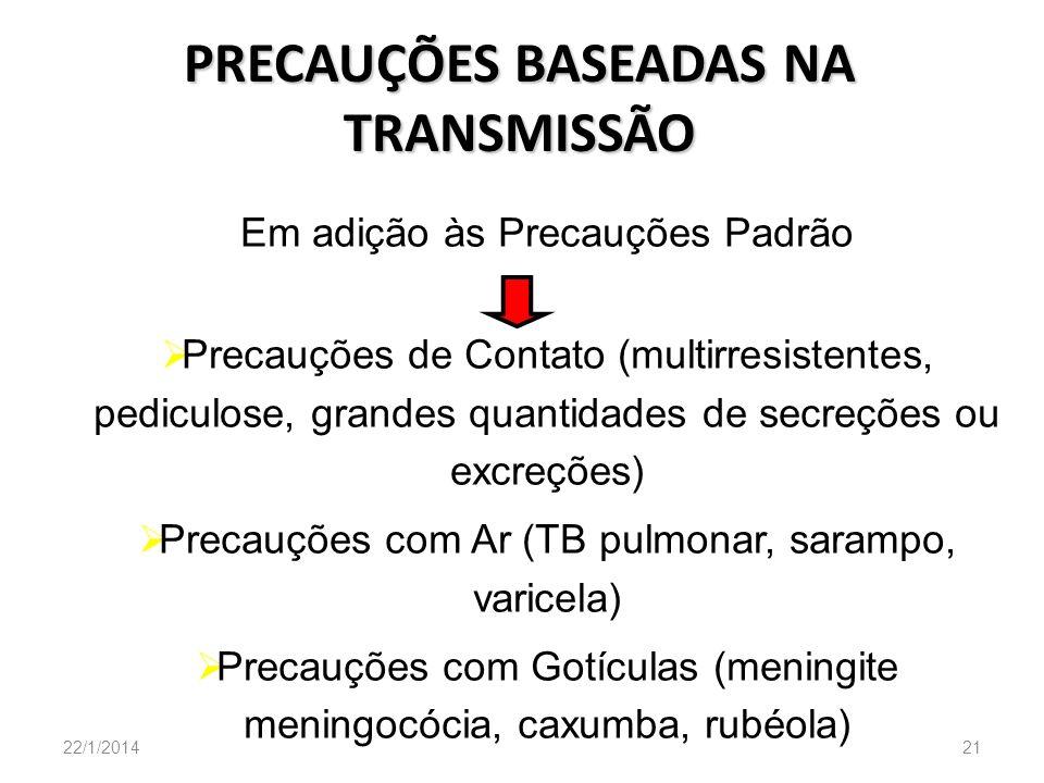PRECAUÇÕES BASEADAS NA TRANSMISSÃO 22/1/201421 Em adição às Precauções Padrão Precauções de Contato (multirresistentes, pediculose, grandes quantidade