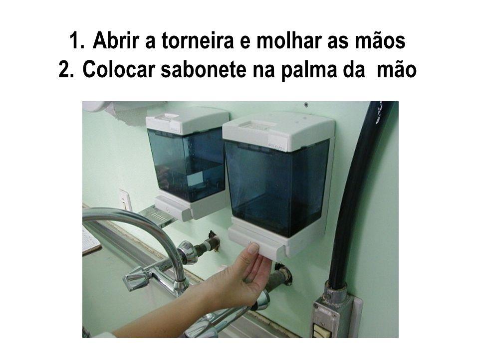 1.Abrir a torneira e molhar as mãos 2.Colocar sabonete na palma da mão