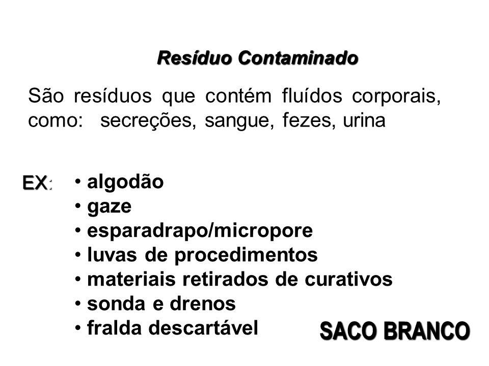 Resíduo Contaminado São resíduos que contém fluídos corporais, como: secreções, sangue, fezes, urina algodão gaze esparadrapo/micropore luvas de proce