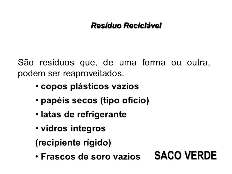 Resíduo Reciclável São resíduos que, de uma forma ou outra, podem ser reaproveitados. copos plásticos vazios papéis secos (tipo ofício) latas de refri