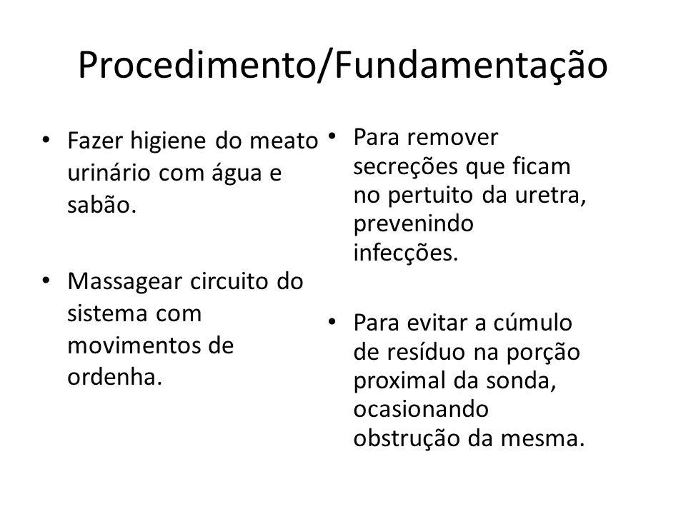 Procedimento/Fundamentação Fazer higiene do meato urinário com água e sabão. Massagear circuito do sistema com movimentos de ordenha. Para remover sec