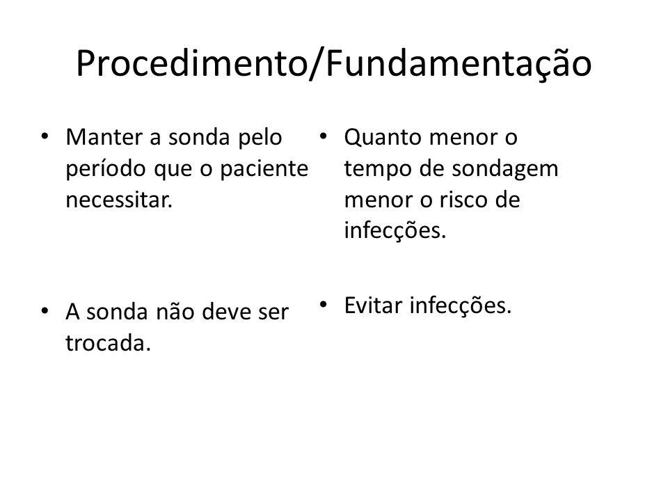 Procedimento/Fundamentação Manter a sonda pelo período que o paciente necessitar. A sonda não deve ser trocada. Quanto menor o tempo de sondagem menor