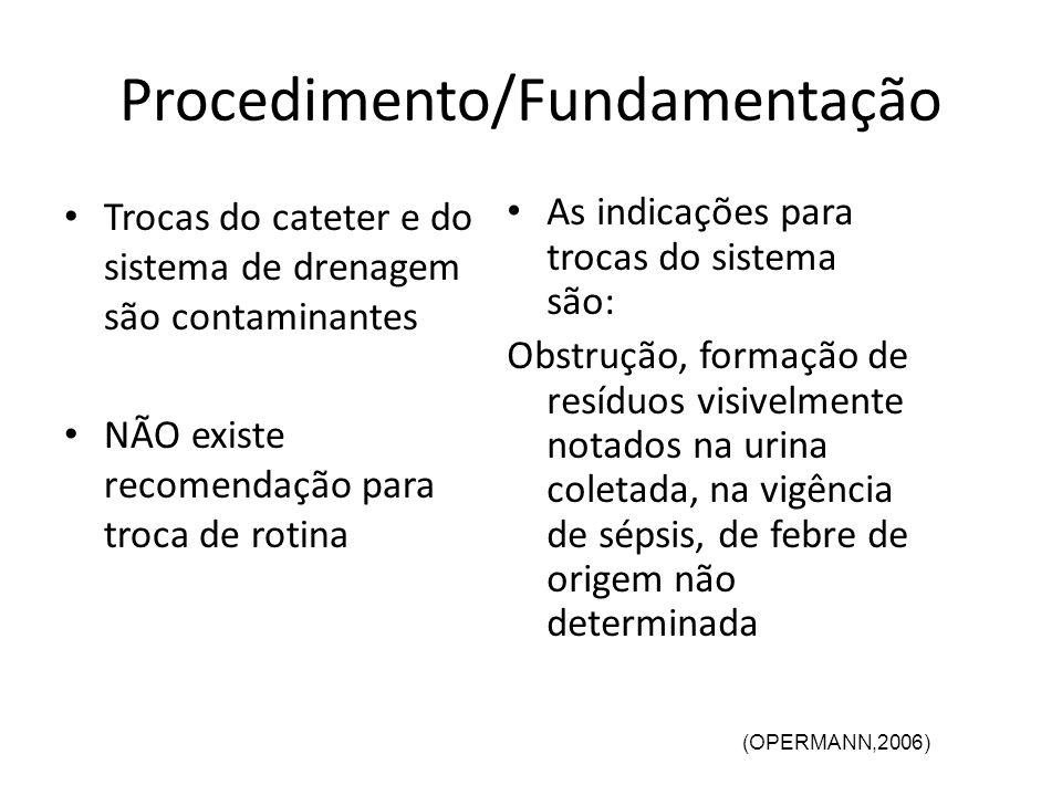 Procedimento/Fundamentação Trocas do cateter e do sistema de drenagem são contaminantes NÃO existe recomendação para troca de rotina As indicações par