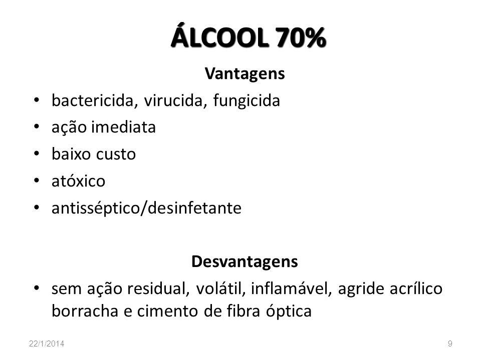 ÁLCOOL 70% Vantagens bactericida, virucida, fungicida ação imediata baixo custo atóxico antisséptico/desinfetante Desvantagens sem ação residual, volá