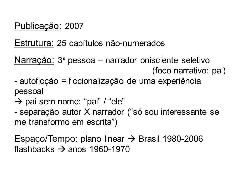 Publicação: 2007 Estrutura: 25 capítulos não-numerados Narração: 3ª pessoa – narrador onisciente seletivo (foco narrativo: pai) - autoficção = ficcion