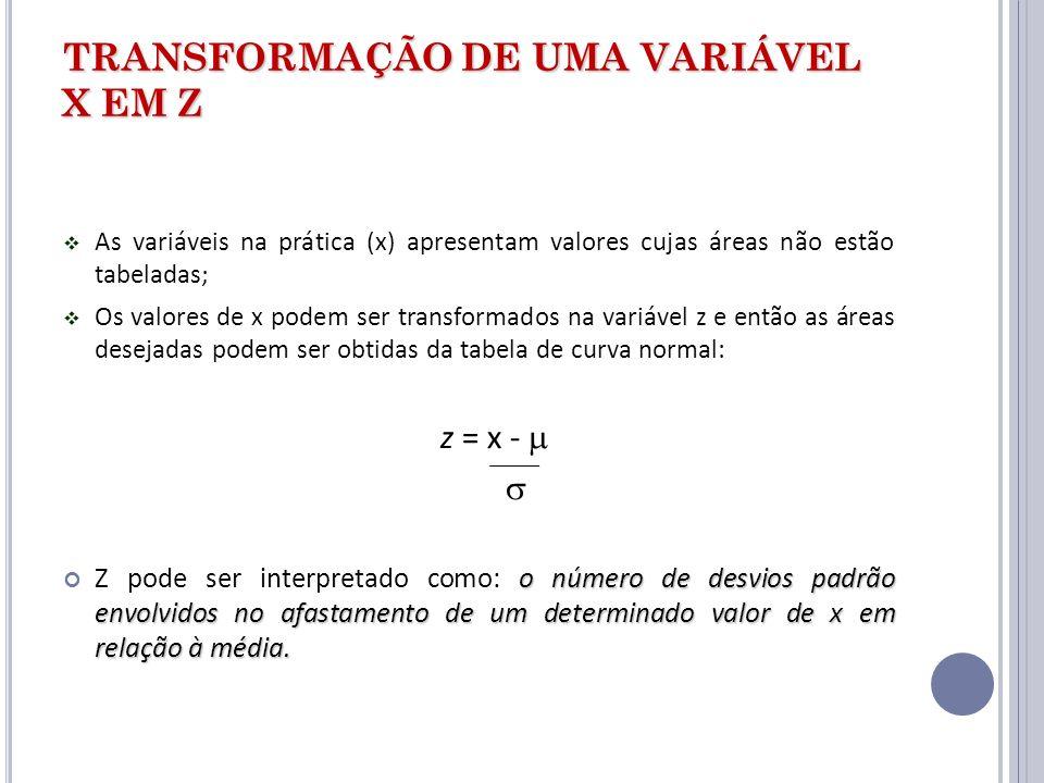 TRANSFORMAÇÃO DE UMA VARIÁVEL X EM Z As variáveis na prática (x) apresentam valores cujas áreas não estão tabeladas; Os valores de x podem ser transfo