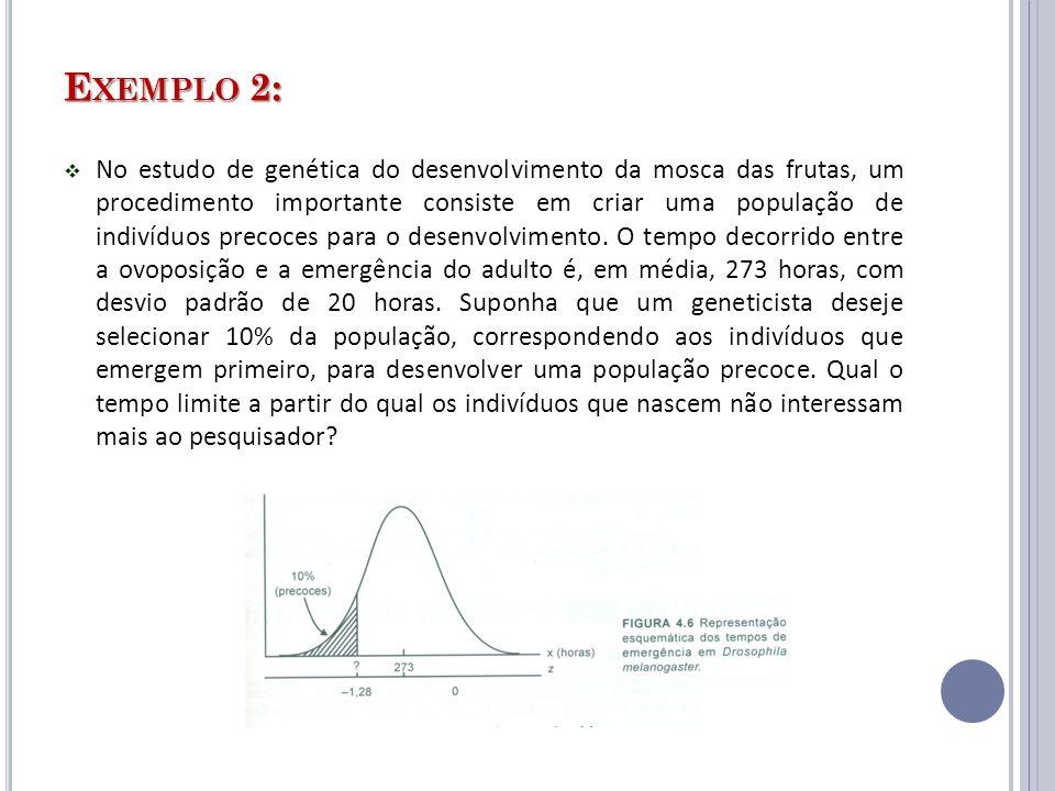 E XEMPLO 2: No estudo de genética do desenvolvimento da mosca das frutas, um procedimento importante consiste em criar uma população de indivíduos pre