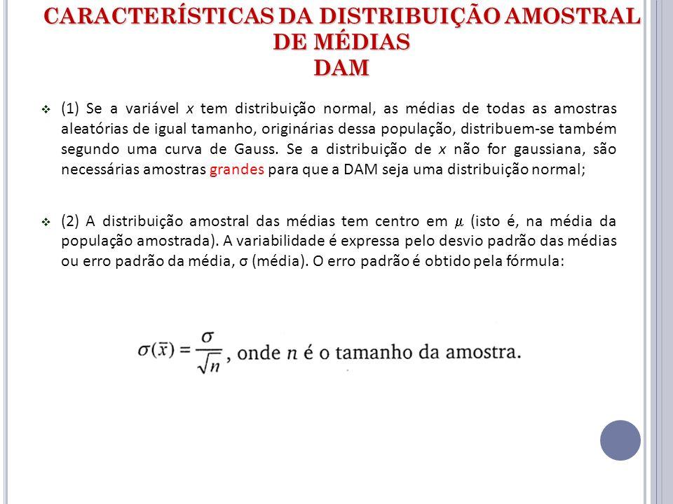 CARACTERÍSTICAS DA DISTRIBUIÇÃO AMOSTRAL DE MÉDIAS DAM (1) Se a variável x tem distribuição normal, as médias de todas as amostras aleatórias de igual