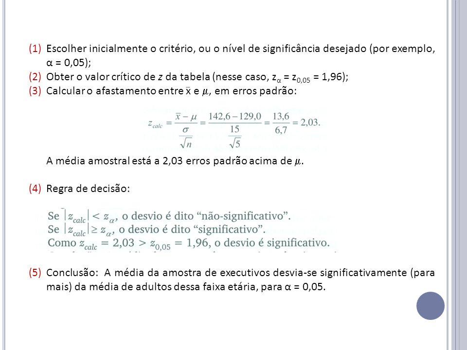 (1)Escolher inicialmente o critério, ou o nível de significância desejado (por exemplo, α = 0,05); (2)Obter o valor crítico de z da tabela (nesse caso