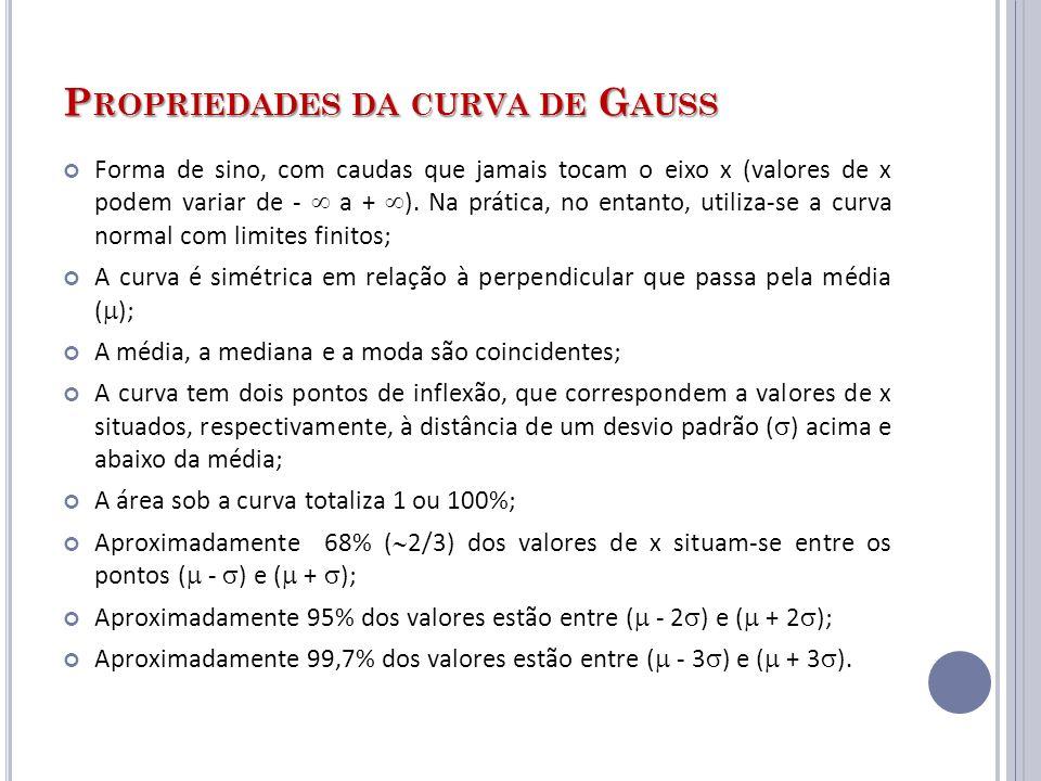 P ROPRIEDADES DA CURVA DE G AUSS Forma de sino, com caudas que jamais tocam o eixo x (valores de x podem variar de - a + ). Na prática, no entanto, ut