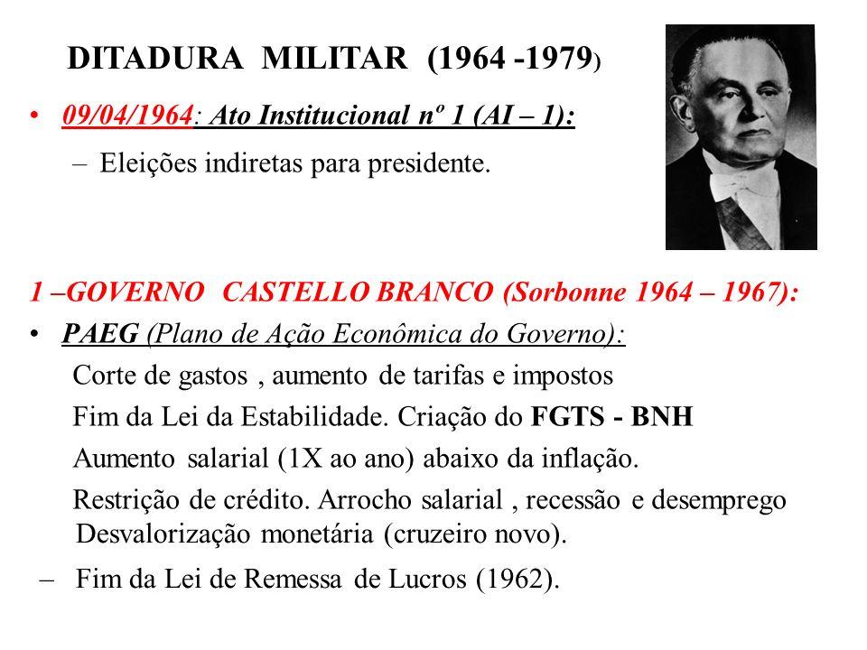 BRASIL REPÚBLICA (1889 – ) 09/04/1964: Ato Institucional nº 1 (AI – 1): –Eleições indiretas para presidente. 1 –GOVERNO CASTELLO BRANCO (Sorbonne 1964