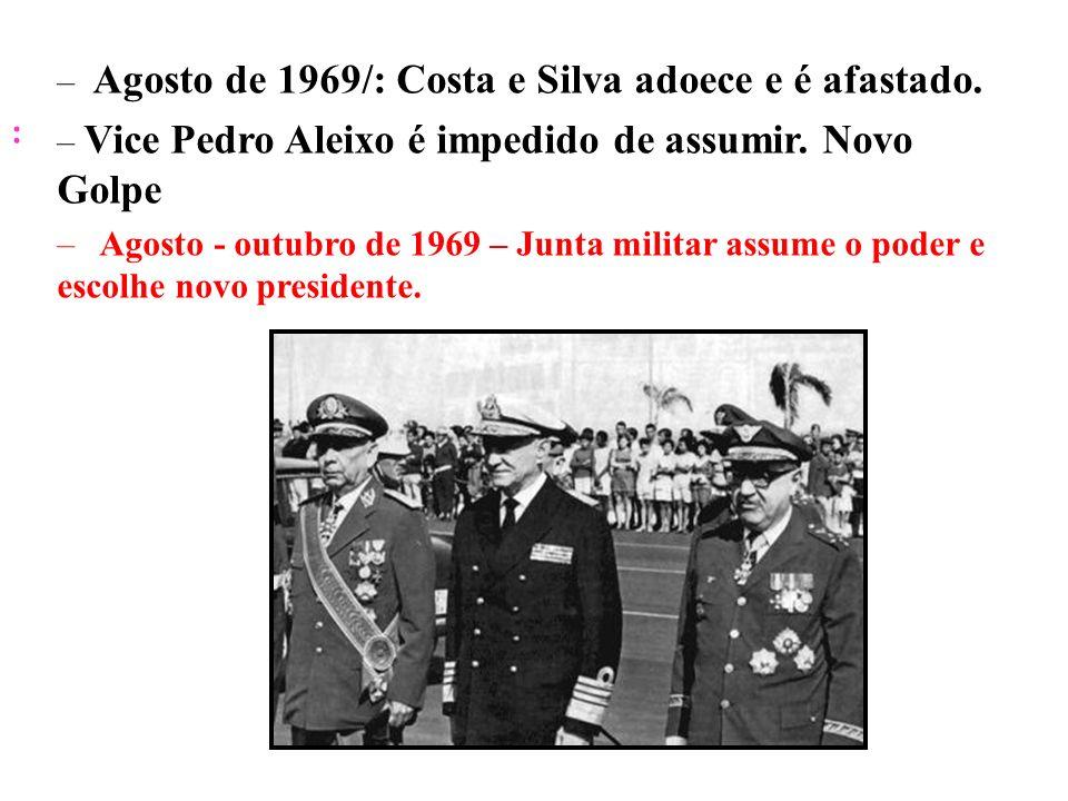 BRASIL REPÚBLICA (1889 – ) : – Agosto de 1969/: Costa e Silva adoece e é afastado. – Vice Pedro Aleixo é impedido de assumir. Novo Golpe – Agosto - ou