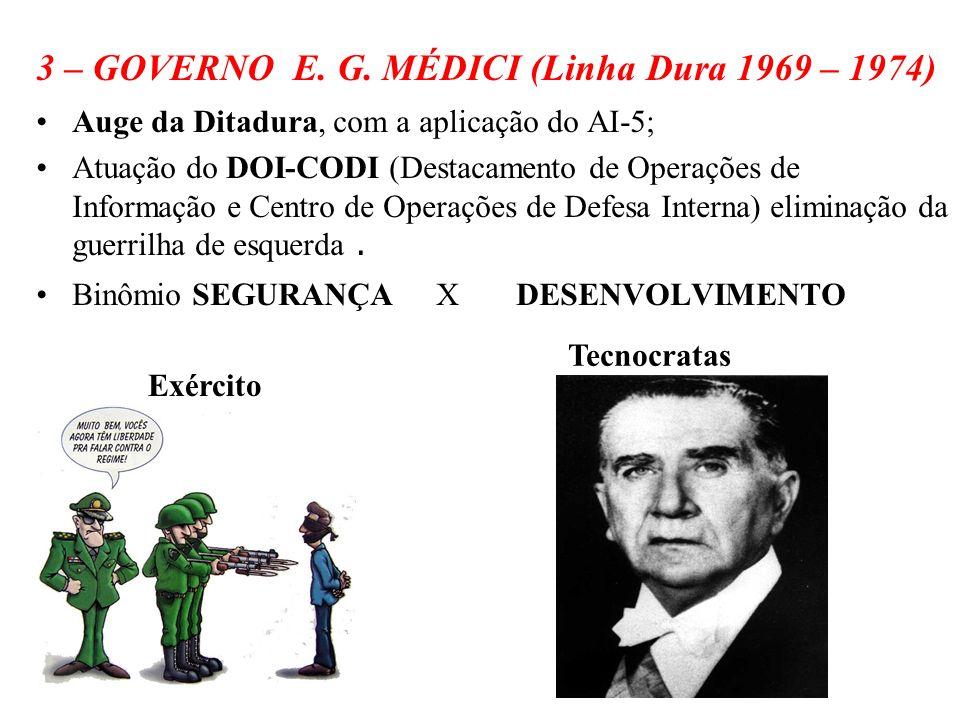 BRASIL REPÚBLICA (1889 – ) 3 – GOVERNO E. G. MÉDICI (Linha Dura 1969 – 1974) Auge da Ditadura, com a aplicação do AI-5; Atuação do DOI-CODI (Destacame