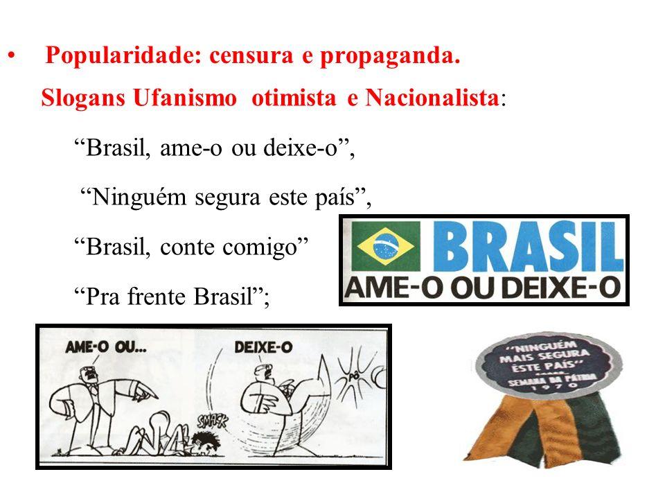 BRASIL REPÚBLICA (1889 – ) Popularidade: censura e propaganda. Slogans Ufanismo otimista e Nacionalista: Brasil, ame-o ou deixe-o, Ninguém segura este