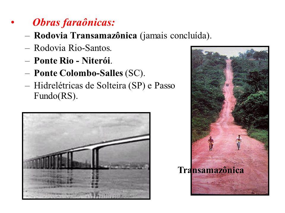 BRASIL REPÚBLICA (1889 – ) Obras faraônicas: –Rodovia Transamazônica (jamais concluída). –Rodovia Rio-Santos. –Ponte Rio - Niterói. –Ponte Colombo-Sal