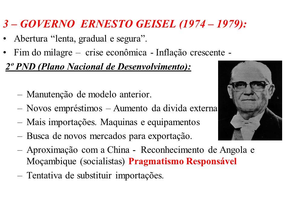 BRASIL REPÚBLICA (1889 – ) 3 – GOVERNO ERNESTO GEISEL (1974 – 1979): Abertura lenta, gradual e segura. Fim do milagre – crise econômica - Inflação cre