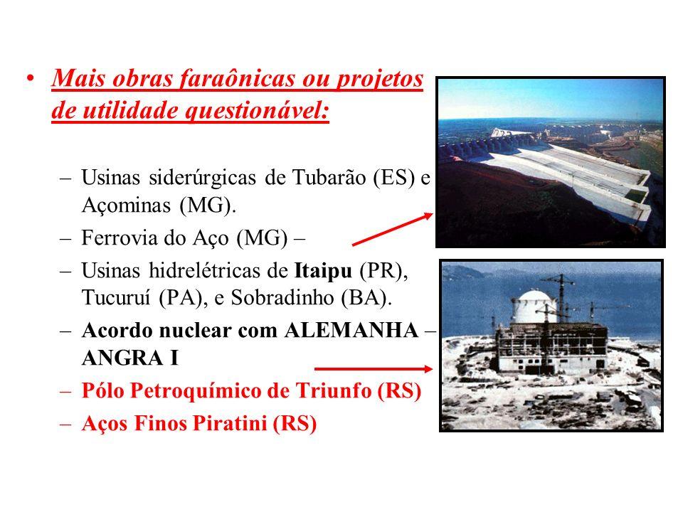 BRASIL REPÚBLICA (1889 – ) Mais obras faraônicas ou projetos de utilidade questionável: –Usinas siderúrgicas de Tubarão (ES) e Açominas (MG). –Ferrovi