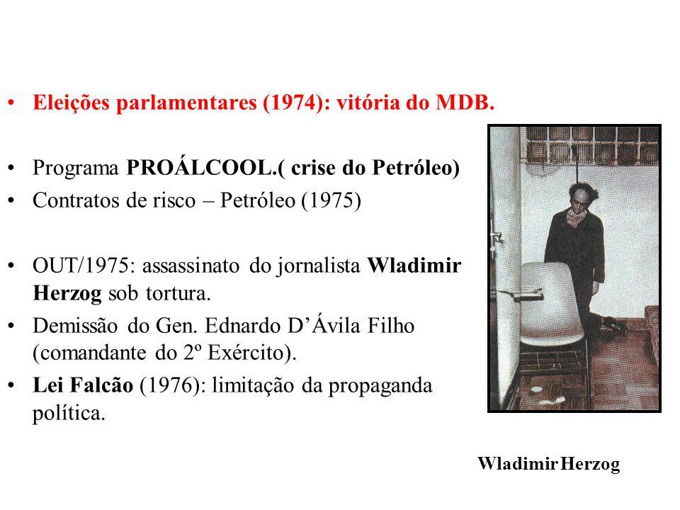 BRASIL REPÚBLICA (1889 – ) Eleições parlamentares (1974): vitória do MDB. Programa PROÁLCOOL.( crise do Petróleo) Contratos de risco – Petróleo (1975)