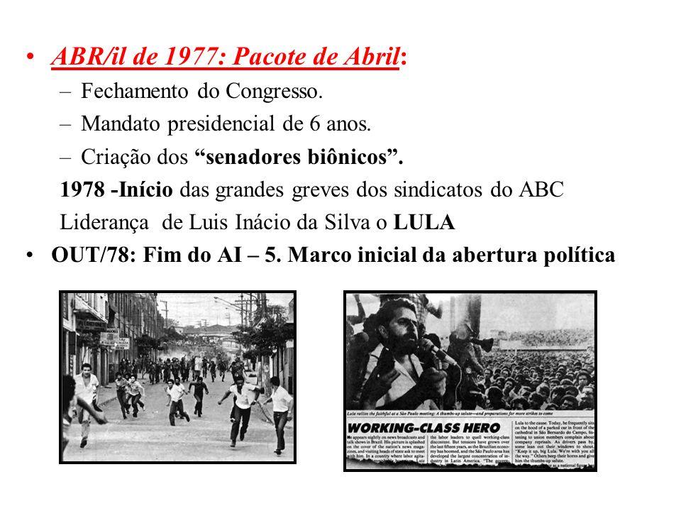 BRASIL REPÚBLICA (1889 – ) ABR/il de 1977: Pacote de Abril: –Fechamento do Congresso. –Mandato presidencial de 6 anos. –Criação dos senadores biônicos