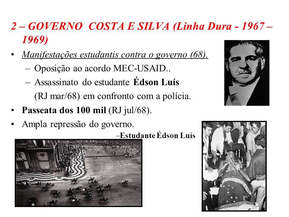 BRASIL REPÚBLICA (1889 – ) 2 – GOVERNO COSTA E SILVA (Linha Dura - 1967 – 1969) Manifestações estudantis contra o governo (68). –Oposição ao acordo ME