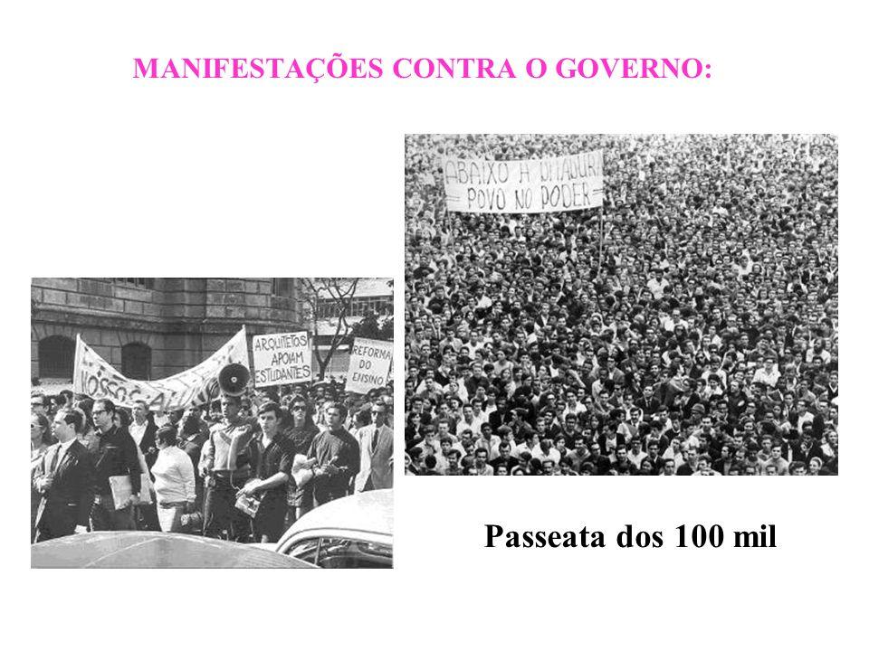 BRASIL REPÚBLICA (1889 – ) MANIFESTAÇÕES CONTRA O GOVERNO: Passeata dos 100 mil