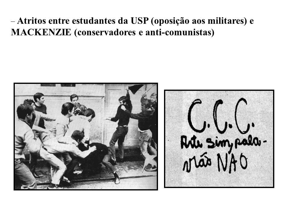 BRASIL REPÚBLICA (1889 – ) – Atritos entre estudantes da USP (oposição aos militares) e MACKENZIE (conservadores e anti-comunistas)