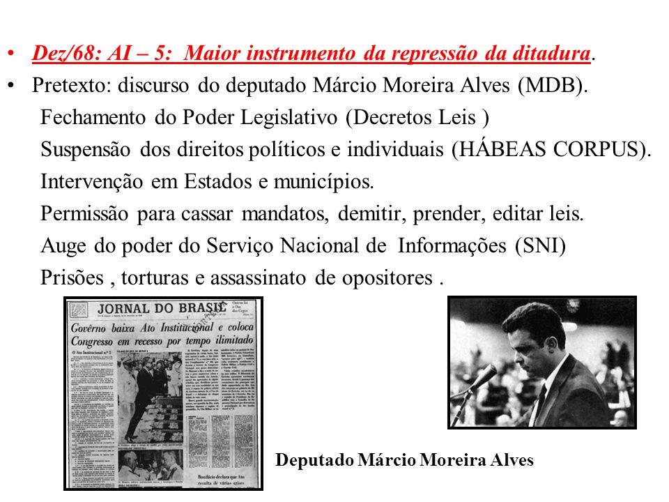 BRASIL REPÚBLICA (1889 – ) Dez/68: AI – 5: Maior instrumento da repressão da ditadura. Pretexto: discurso do deputado Márcio Moreira Alves (MDB). Fech