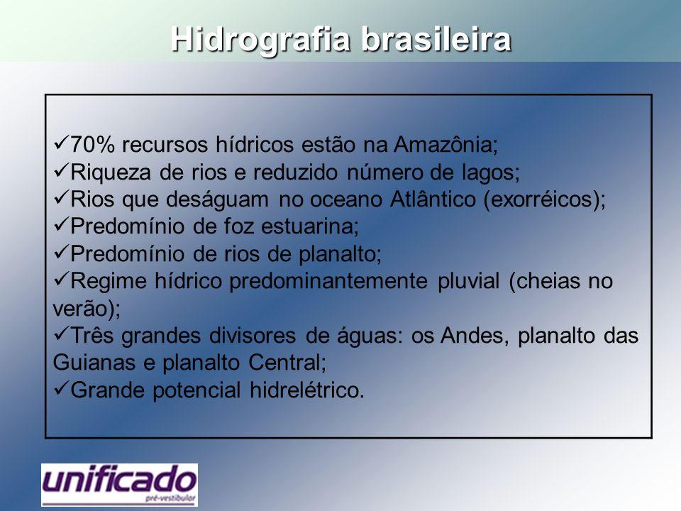 Hidrografia brasileira 70% recursos hídricos estão na Amazônia; Riqueza de rios e reduzido número de lagos; Rios que deságuam no oceano Atlântico (exo
