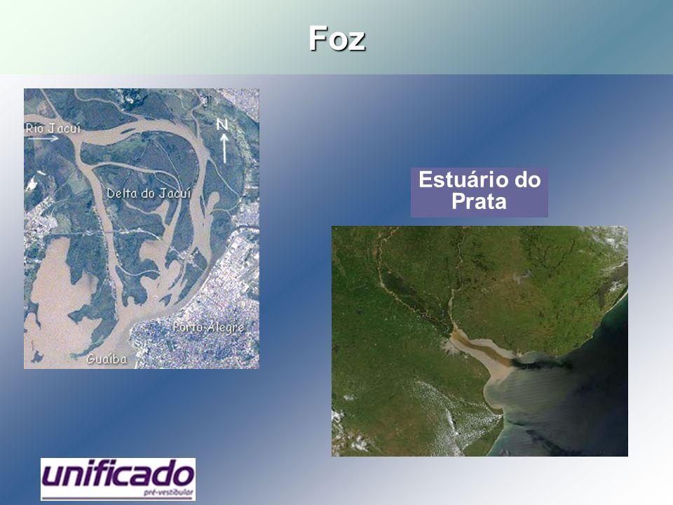Hidrografia brasileira 70% recursos hídricos estão na Amazônia; Riqueza de rios e reduzido número de lagos; Rios que deságuam no oceano Atlântico (exorréicos); Predomínio de foz estuarina; Predomínio de rios de planalto; Regime hídrico predominantemente pluvial (cheias no verão); Três grandes divisores de águas: os Andes, planalto das Guianas e planalto Central; Grande potencial hidrelétrico.