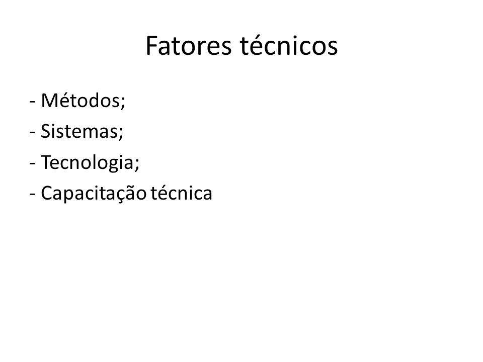 Fatores técnicos - Métodos; - Sistemas; - Tecnologia; - Capacitação técnica
