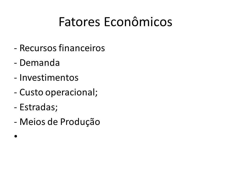 Fatores Econômicos - Recursos financeiros - Demanda - Investimentos - Custo operacional; - Estradas; - Meios de Produção