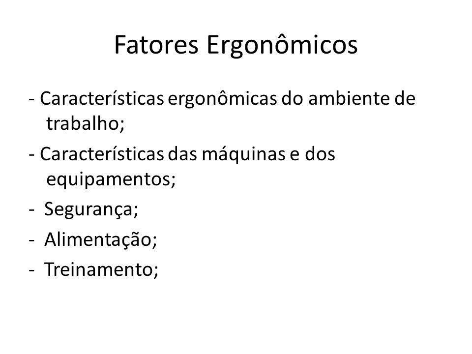 Fatores Ergonômicos - Características ergonômicas do ambiente de trabalho; - Características das máquinas e dos equipamentos; - Segurança; - Alimentaç