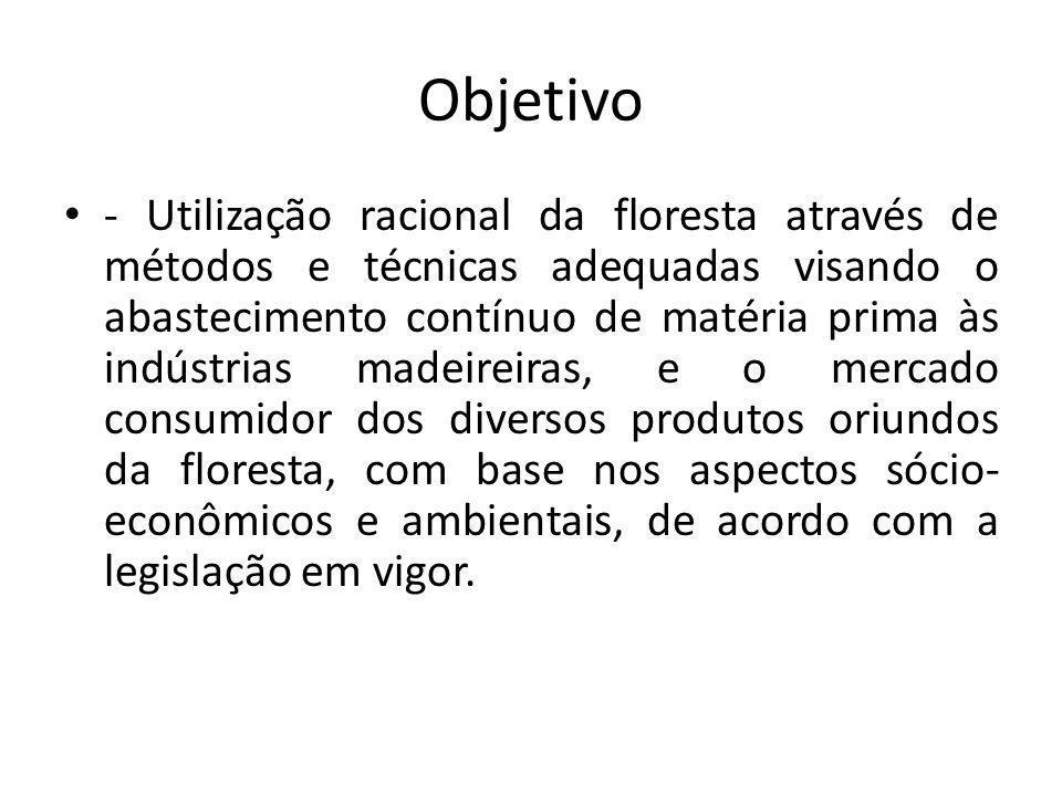 Objetivo - Utilização racional da floresta através de métodos e técnicas adequadas visando o abastecimento contínuo de matéria prima às indústrias mad