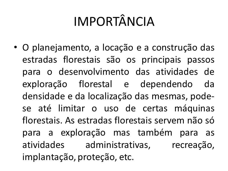IMPORTÂNCIA O planejamento, a locação e a construção das estradas florestais são os principais passos para o desenvolvimento das atividades de explora
