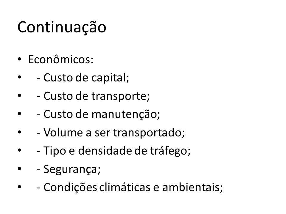 Continuação Econômicos: - Custo de capital; - Custo de transporte; - Custo de manutenção; - Volume a ser transportado; - Tipo e densidade de tráfego;