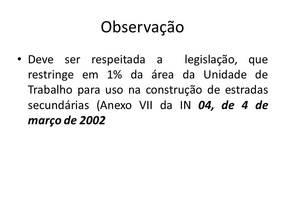 Observação Deve ser respeitada a legislação, que restringe em 1% da área da Unidade de Trabalho para uso na construção de estradas secundárias (Anexo