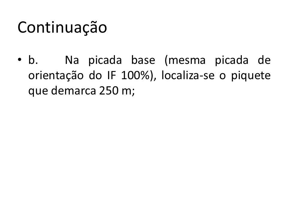 Continuação b. Na picada base (mesma picada de orientação do IF 100%), localiza-se o piquete que demarca 250 m;