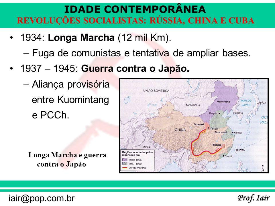 IDADE CONTEMPORÂNEA Prof. Iair iair@pop.com.br REVOLUÇÕES SOCIALISTAS: RÚSSIA, CHINA E CUBA 1934: Longa Marcha (12 mil Km). –Fuga de comunistas e tent